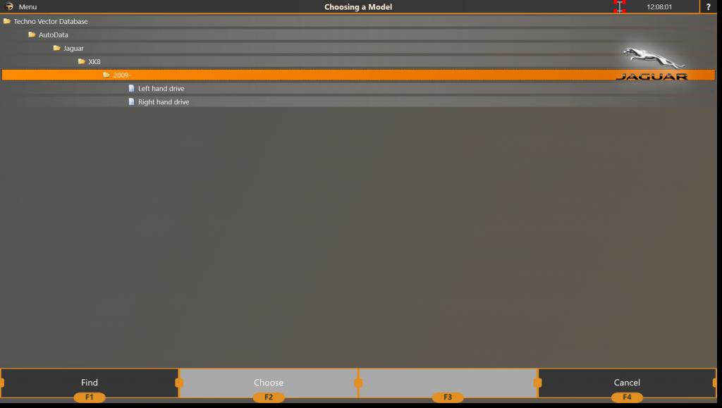 Экран выбора модели